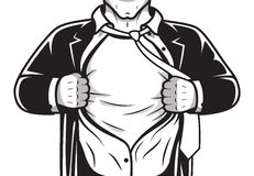 Camisa cómica de la abertura del héroe Fotografía de archivo