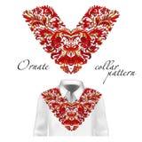 Camisa, chaqueta y modelo del cuello de la camiseta Ornamento del bordado Cuello en v Vector colorido ilustración del vector