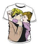 Camisa com ilustração dos pares Fotos de Stock Royalty Free