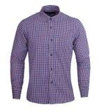 Camisa completa escura perfeita das luvas da cópia roxa e vermelha da verificação imagem de stock