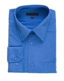 Camisa de alineada azul aislada Fotografía de archivo