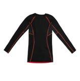 Camisa de deportes larga negra de la manga con las costuras del rojo aisladas en blanco foto de archivo libre de regalías