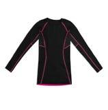 Camisa de deportes larga negra de la manga con las costuras del rosa aisladas en blanco fotos de archivo libres de regalías