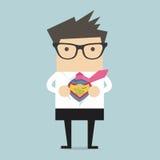 Camisa de la abertura del hombre de negocios en estilo del super héroe Imágenes de archivo libres de regalías