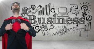 Camisa de la abertura del super héroe del hombre de negocios contra la pared gris con garabatos y la llamarada del negocio stock de ilustración
