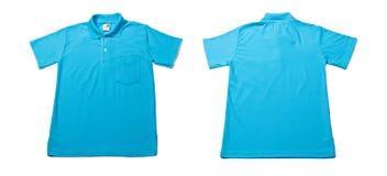 Camisa de polo azul del color Foto de archivo