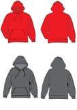 Camisa de suor encapuçado cinzenta e vermelha ilustração do vetor