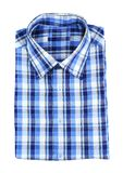 Camisa de tela escocesa azul Foto de archivo libre de regalías