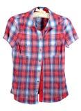 Camisa de tela escocesa con la venda roja y azul Imagenes de archivo
