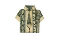 Camisa del dólar del moneygami de la papiroflexia aislada fotos de archivo libres de regalías