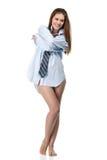Camisa desgastando da mulher nova Imagem de Stock
