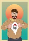 Camisa emocionada de la abertura del hombre de negocios para revelar su logotipo Foto de archivo