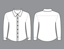 Camisa en blanco con la plantilla larga de las mangas ilustración del vector