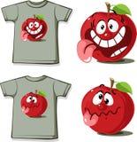 Camisa engraçada com personagem de banda desenhada bonito da maçã - vector a ilustração Imagens de Stock Royalty Free