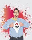 Camisa entusiasmado da abertura do homem de negócios para revelar seu logotipo Fotografia de Stock