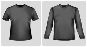 Camisa negra con las fundas y la camisa largas. Imagen de archivo libre de regalías
