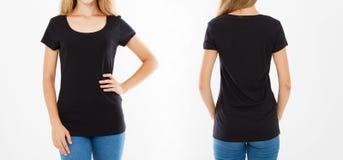 Camisa preta ajustada de t A parte traseira dianteira vê a mulher bonita no tshirt isolado no fundo branco, molde, placa fotos de stock