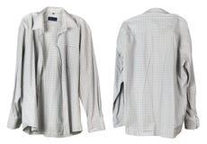 A camisa quadriculado branca velha de meu avô pendura no han foto de stock royalty free