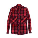 Camisa quadriculado vermelha e preta Fundo branco isolate imagem de stock
