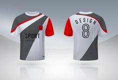 Camisa realista del f?tbol Mofa uniforme del deporte del jersey para arriba, plantilla del dise?o de la camiseta del equipo de f? stock de ilustración