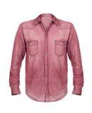 Camisa roja de la mezclilla aislada en blanco fotografía de archivo libre de regalías