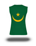 Camisa sem mangas atlética com a bandeira de Mauritânia no fundo e na sombra brancos Fotografia de Stock Royalty Free