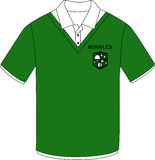 Camisa verde con la etiqueta de las burbujas Imagenes de archivo