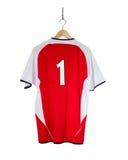 Camisa vermelha do futebol Fotografia de Stock Royalty Free