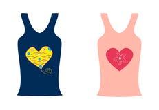 Camisas da forma dois com um coração Fotos de Stock