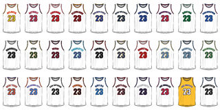 Camisas de las ciudades americanas del baloncesto ilustración del vector