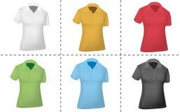 Camisas de polo coloreadas (mujeres). Imagenes de archivo