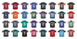 Camisas genéricas del fútbol americano stock de ilustración