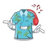 Camisas hawaianas de la música que escuchan dobladas en armario de la historieta ilustración del vector