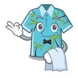 Camisas hawaianas del camarero dobladas en armario de la historieta ilustración del vector