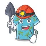 Camisas hawaianas del minero dobladas en armario de la historieta ilustración del vector