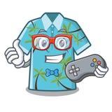 Camisas hawaianas del videojugador dobladas en armario de la historieta ilustración del vector