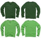 Camisas largas verdes en blanco de la funda Imagen de archivo