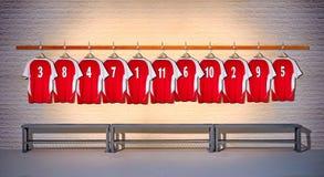 Camisas rojas del fútbol 3-5 Foto de archivo libre de regalías