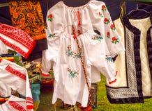 Camisas tradicionales rumanas Imagen de archivo libre de regalías