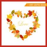 Camiseta Autumn Shabby Chic Graphic Design stock de ilustración