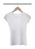 Camiseta blanca aislada vector de la mujer en la suspensión stock de ilustración
