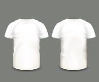 Camiseta blanca del raglán de los hombres en frente y visiones traseras Modelo del vector Malla hecha a mano completamente editab Imagenes de archivo
