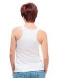Camiseta blanca en una mujer joven Imagen de archivo libre de regalías