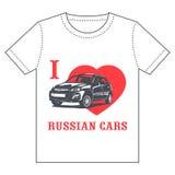 Camiseta - coches del ruso del amor de I Fotografía de archivo