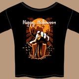 Camiseta con el gráfico del zombi de Halloween stock de ilustración