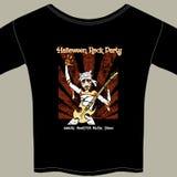 Camiseta con el gráfico de la demostración de la música rock de Halloween Fotografía de archivo libre de regalías