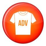 Camiseta con el icono de los ADV de la impresión, estilo plano stock de ilustración