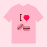 Camiseta con imagen de los macarrones Imagen de archivo