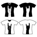 Camiseta con la imagen de la mano Fotos de archivo libres de regalías