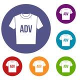 Camiseta con los iconos de los ADV de la impresión fijados ilustración del vector